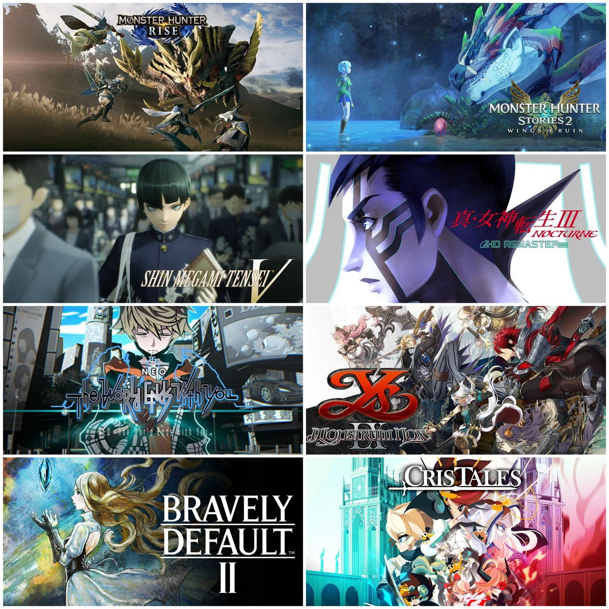 I've realized a pattern of the releases for 2021 for Nintendo Switch.. most of them are RPG's! Looking so much forward for the upcoming games next year! #NintendoSwitch #RPG #MonsterHunter #ShinMegamiTensei #Ys9 #NeoTheWorldEndswithYou #bravelydefault2 #CrisTales