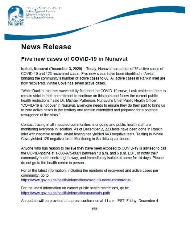 test Twitter Media - Five new cases of #COVID19 in #Nunavut today, all in #Arviat. https://t.co/T2FB2UsbIU