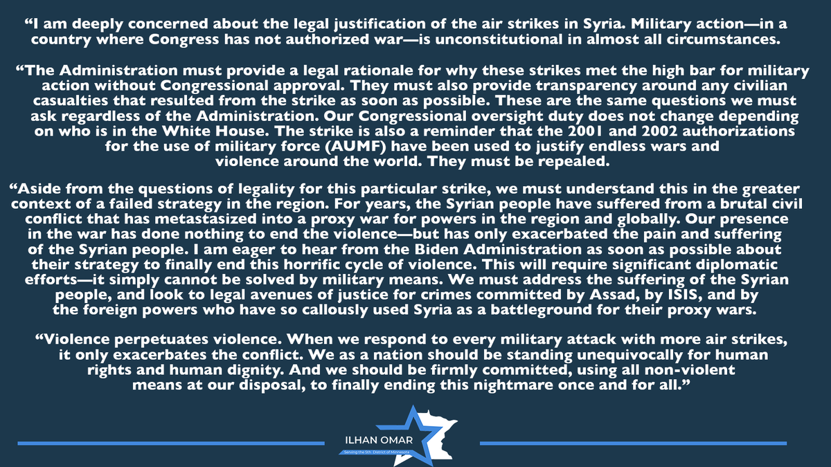 The Administration must provide a legal rationale for the air strikes in Syria and why these strikes met the high bar for military action without Congressional approval.   My statement on the U.S. air strikes in Syria: