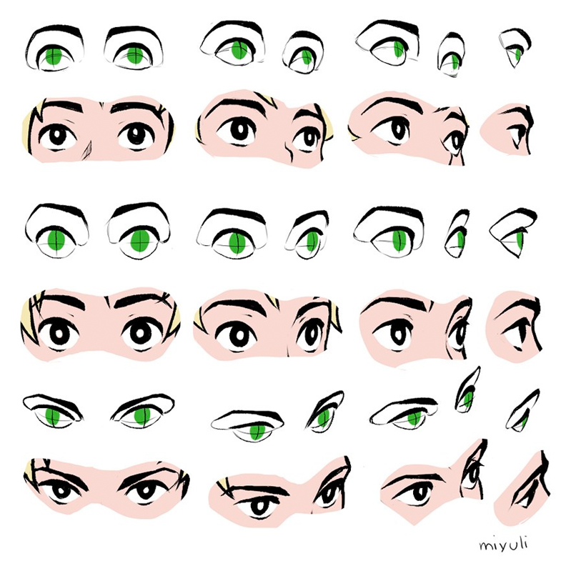 Our feature artist/reference for today is this FANTASTIC set of EYE ANGLES by the always generous @miyuliart! Such a useful approach to getting those tricky angles right, and understanding the SHAPE CHANGE in the FAR EYE! #gamedev #animationdev #characterdesign #ComicArt https://t.co/AM3BL4czPW