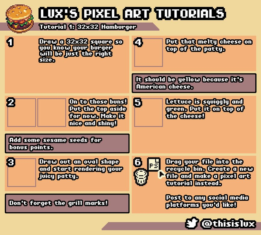 My first tutorial, a very necessary and extremely helpful guide on making 32x32 pixel art food sprites!   #gamedev #pixelart https://t.co/muggCOxFxJ
