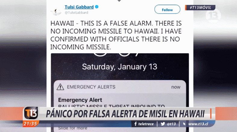 Pánico en Hawaii por una falsa hawaii