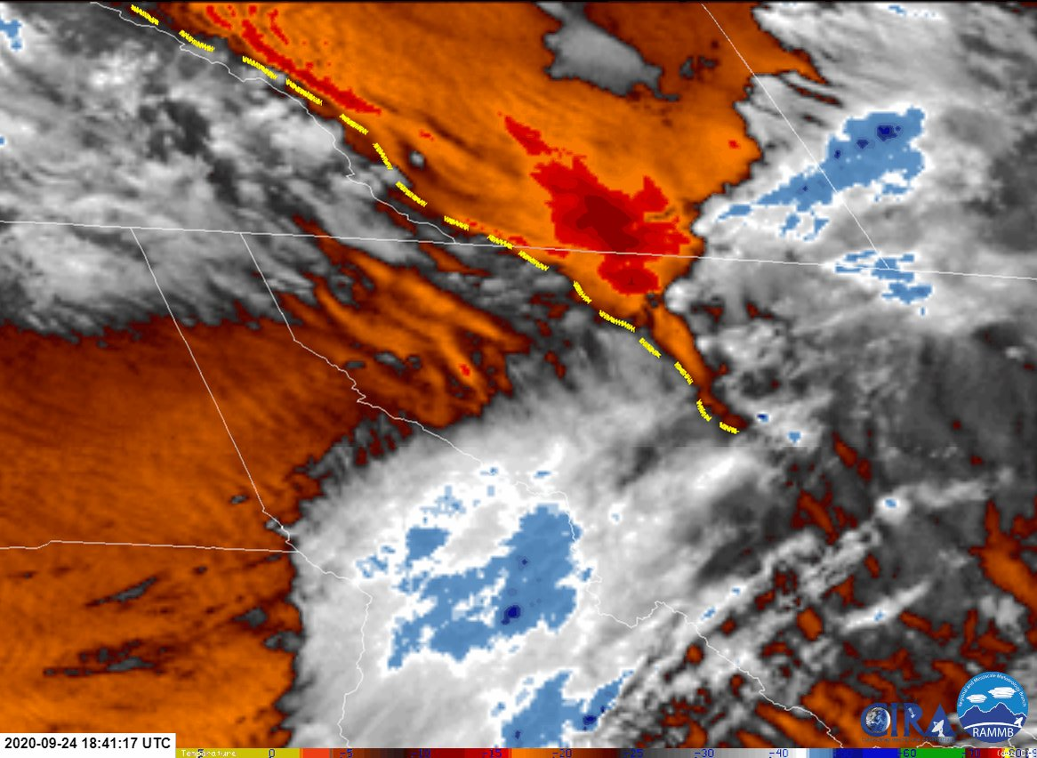 #GOES17 low-level water vapor imagery reveals the strong drying occurring downstream of the Rockies this afternoon. Strong winds and turbulence are common hazards associated within this