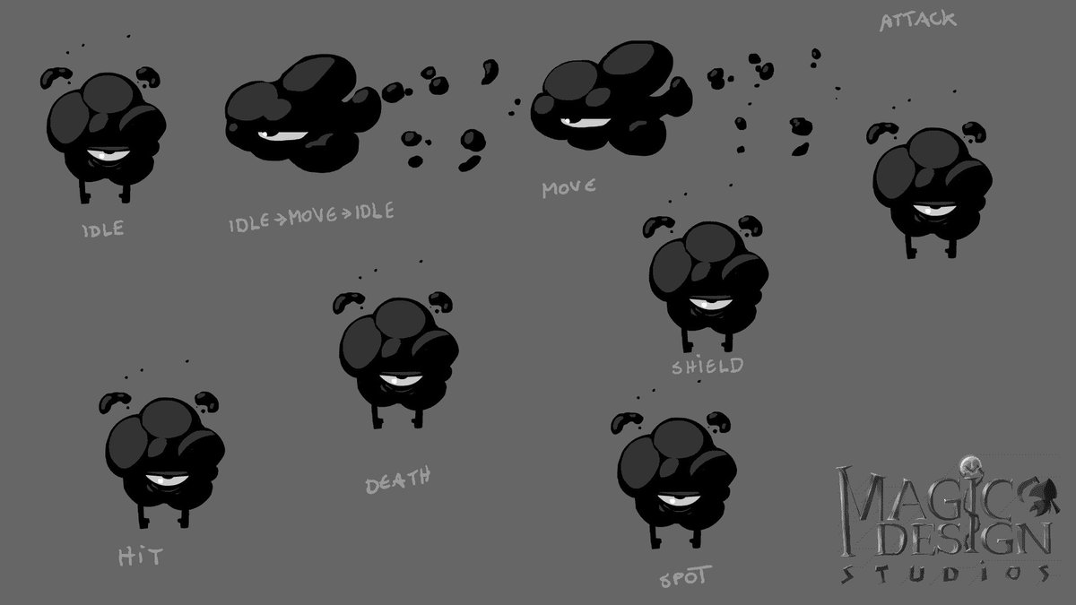 New animations for a potential enemy. What do you think about it? (It could also depict the morning mood of our dev team when builds are broken🌩️😛) #gamedevs    #sketches | #animation | #workinprogress | #indiegame #October | #characterdesign